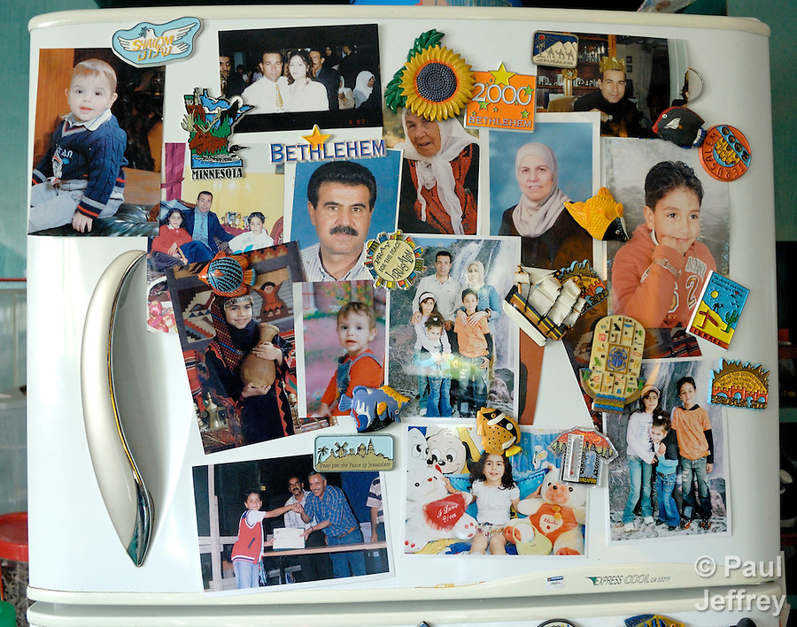 A family's refrigerator door in the West Bank village of Wadi' Foukin (Valley of Thorns)