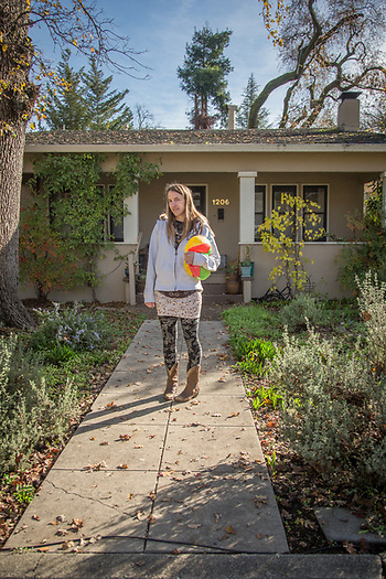 Massage Theropist Ashley Deak in front of her home on Gold Street in Calistoga (Clark James Mishler)