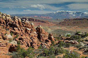 The Fiery Furnace and La Sal Mountains, Arches National Park, Utah, US (Roddy Scheer)
