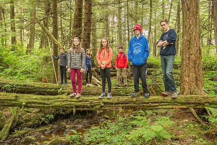 Digital photography students photograph  the wilderness of Sitka Historic National Park while attending  the Sitka Fine Arts Camp, Sitka, Alaska (Clark James Mishler)