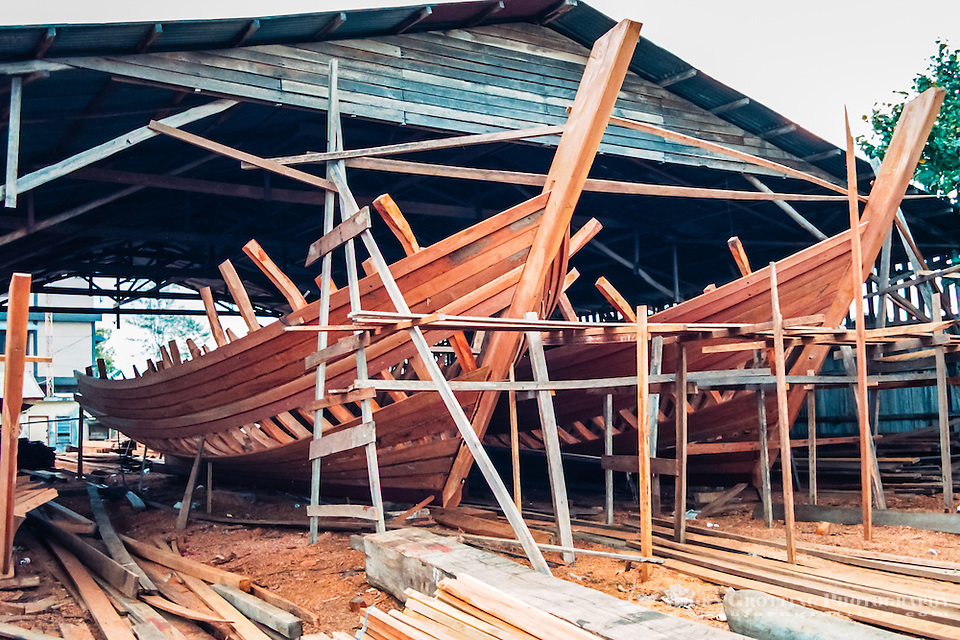 Riau Islands, Bintan. Kijang, south Bintan. Local vessels built of teak. Ship building is still taking place on Bintan. (Photo Bjorn Grotting)