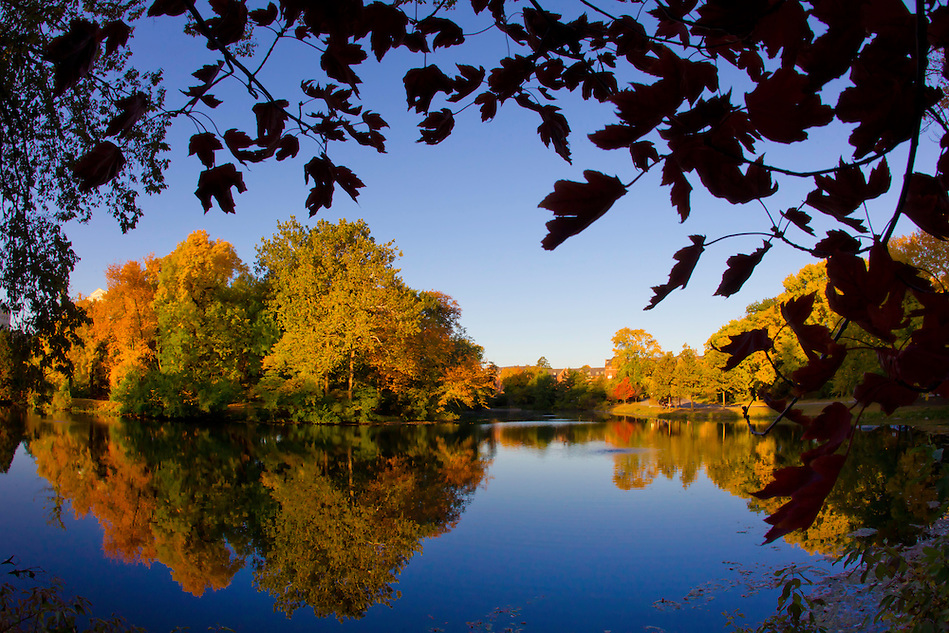 Autumnal colors bloom over Lake Laverne on the Iowa State University campus October 4 in Ames. (Christopher Gannon)