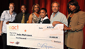 "E-STEM Academy seventh-grader Jada Malveaux (fourth from L) was recently named the ""Gold"" award winner in Luby's Achieving Character Together (ACT) program, earning her free Luby's meals for a year. With her are (L to R): Luby's Marketing Field Specialist Tiffanie Gupton, E-STEM teacher Joshua Wiley, parents Sharon and Bartholomew Malveaux, and E-STEM Principal Argentina James."