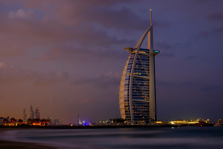 UNITED ARAB EMIRATES, DUBAI - CIRCA JANUARY 2017: Burj Al Arab at dawn, the only 7 star hotel in the world. (Daniel Korzeniewski)