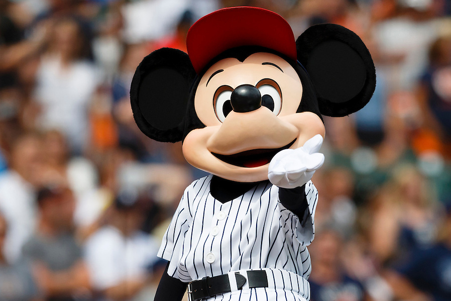 Aug 9, 2015; Detroit, MI, USA; Mickey Mouse performs during the seventh inning stretch of the game between the Detroit Tigers and the Boston Red Sox at Comerica Park. Mandatory Credit: Rick Osentoski-USA TODAY Sports (Rick Osentoski/Rick Osentoski-USA TODAY Sports)