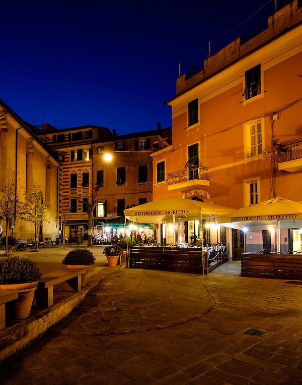 MONTEROSSO AL MARE, ITALY - CIRCA MAY 2015: Streets of Monterroso Al Mare at night in Cinque Terre, Italy. (Daniel Korzeniewski)