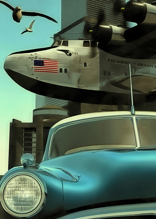 This scene comes to us from out of the past. Judging by the car and plane depicted in this scene, we can guess that this piece is set in the 1950s. The car is a classic now, but it was once the newest, hottest thing on the road. Its iconic design transports us back to this era with ease. Behind the classic car, we can see an airplane with its massive propellers. The American flag is brilliantly displayed along the side of the plane. It seems likely that this plane has experienced some pretty amazing adventures. Gulls fly alongside the plane. It is a beautiful day. (Jan Keteleer)