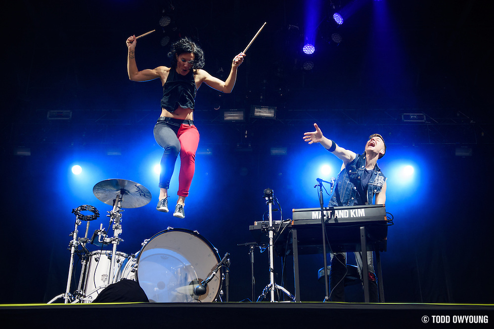Matt and Kim photographed performingat the Governors Ball Music Festival on Randalls Island in New York City on June 3, 2016 (Todd Owyoung)
