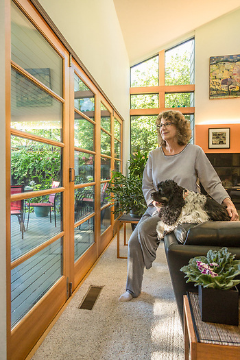 """I am a very visual person with an interest in Math.""  -Architect and design and construction management organizer Pam Kinzie in the house she designed on North Oak in Calistoga (Clark James Mishler)"