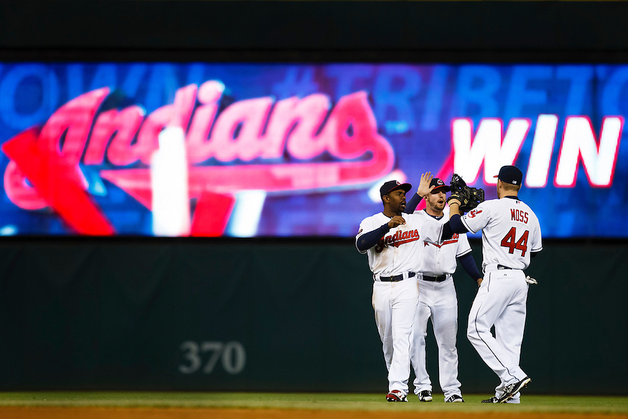May 1, 2015; Cleveland, OH, USA; Cleveland Indians right fielder Brandon Moss (44) left fielder Tyler Holt (62) and center fielder Michael Bourn (24) celebrate after the game against the Toronto Blue Jays at Progressive Field. Cleveland won 9-4. Mandatory Credit: Rick Osentoski-USA TODAY Sports (Rick Osentoski/Rick Osentoski-USA TODAY Sports)