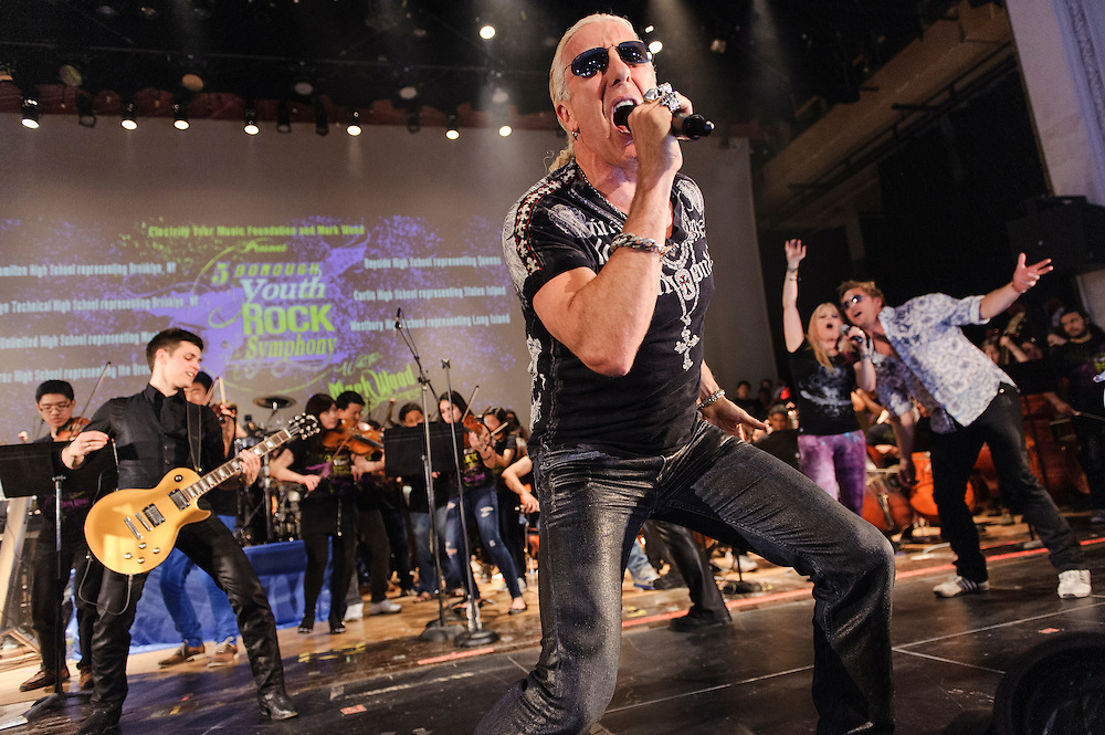 Photos of the Electrify Your Music Foundation New York City launch event with The 5-Borough Youth Rock Symphony featuring electric violinist Mark Wood, vocalist Laura Kaye and Dee Snider of Twisted Sister performing live at Brooklyn Technical High School Theater in Brooklyn, NY. April 26, 2013. Copyright © 2013 Matthew Eisman. All Rights Reserved. (Photo by Matthew Eisman/Getty Images)