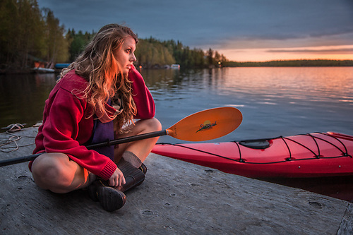 Kayaker, Holly Furman, at Flat Lake, Alaska (Clark James Mishler)