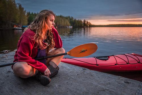 Kayaker, Holly Furman, at Flat Lake, Alaska (Clark James Mishler)