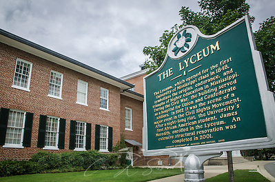 A historic marker stands in front of the Lyceum on the University of Mississippi campus, July 30, 2013, in Oxford, Miss. The building was the site of riots in 1962 following the enrollment of James Meredith, the first black student on campus. Last fall, around 40 students created a disturbance when they gathered in front of the building to protest the re-election of President Barack Obama. After the incident, university officials formed an ad hoc committee to re-examine race relations on campus. (Photo by Carmen K. Sisson/Cloudybright) (Carmen K. Sisson/Cloudybright)