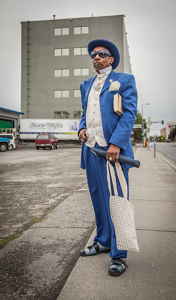 "Tillman Bradley in his ""Sunday suite"", downtown, Anchorage. (© Clark James Mishler)"