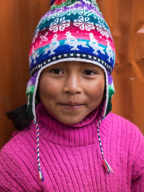 AMANTANI ISLAND, PERU - CIRCA APRIL 2014: Portrait of girl in Amantani Island, Peru. (Daniel Korzeniewski)