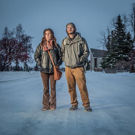 Jonathan Neville and Vikky Mooney on 9th Avenue in Anchorage's South Addition Neighborhood  wiscowanderer@gmail.com (Clark James Mishler)