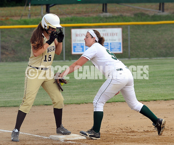 LYONS, PA - JUNE 09: Bethlehem's Brooke Rau (15) stands safely on third base as Lansdale Catholic's Alyssa Messina (9) attempts to tag her during the PIAA Class AAA softball semifinal June 9, 2014 Lyons, Pennsylvania. Bethlehem won 4-1. (Photo by William Thomas Cain/Cain Images) (William Thomas Cain)
