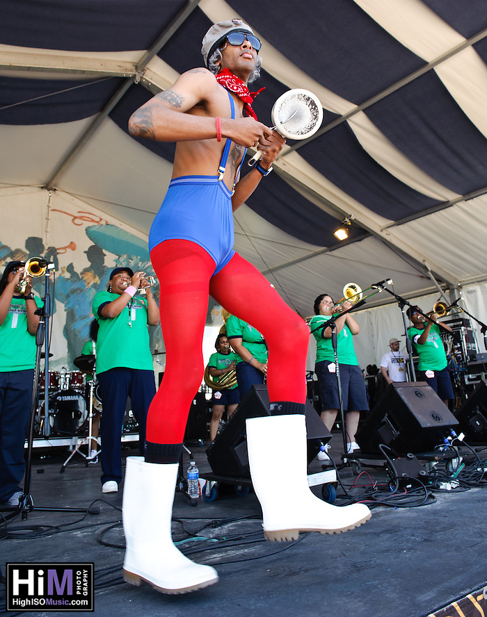 Pinette's Brass Band playing at Jazz Fest 2011 in New Orleans, LA on day 5. (Golden G. Richard III)