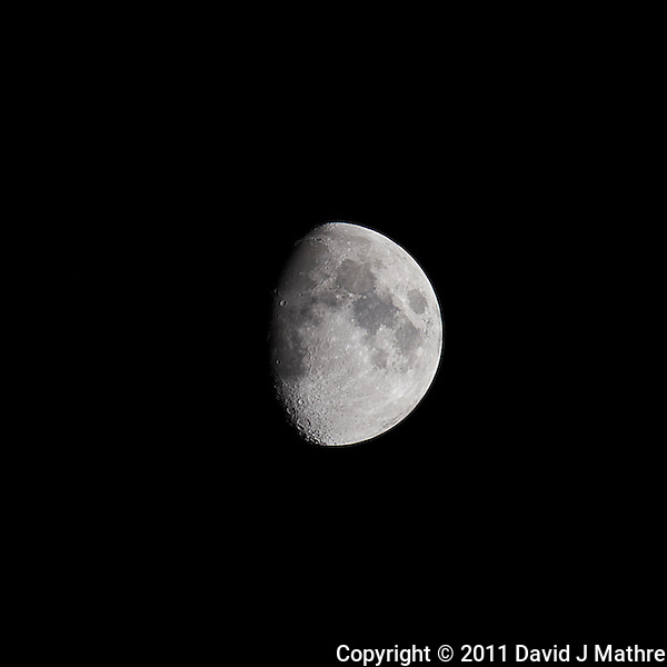Waxing Gibbous Moon (75%). Autumn Night in New Jersey. Image taken with a Nikon D3s and 600 mm f/4 VR lens.  (ISO 200, 600 mm, f/8, 1/200 sec). (David J Mathre)