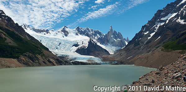 Laguna Torre Panorama. Composite of 4 images from a Nikon D3x and 50 mm f/1.4G lens (ISO 100, f/11, 1/40 sec) combined using PTGui Pro. (David J. Mathre)
