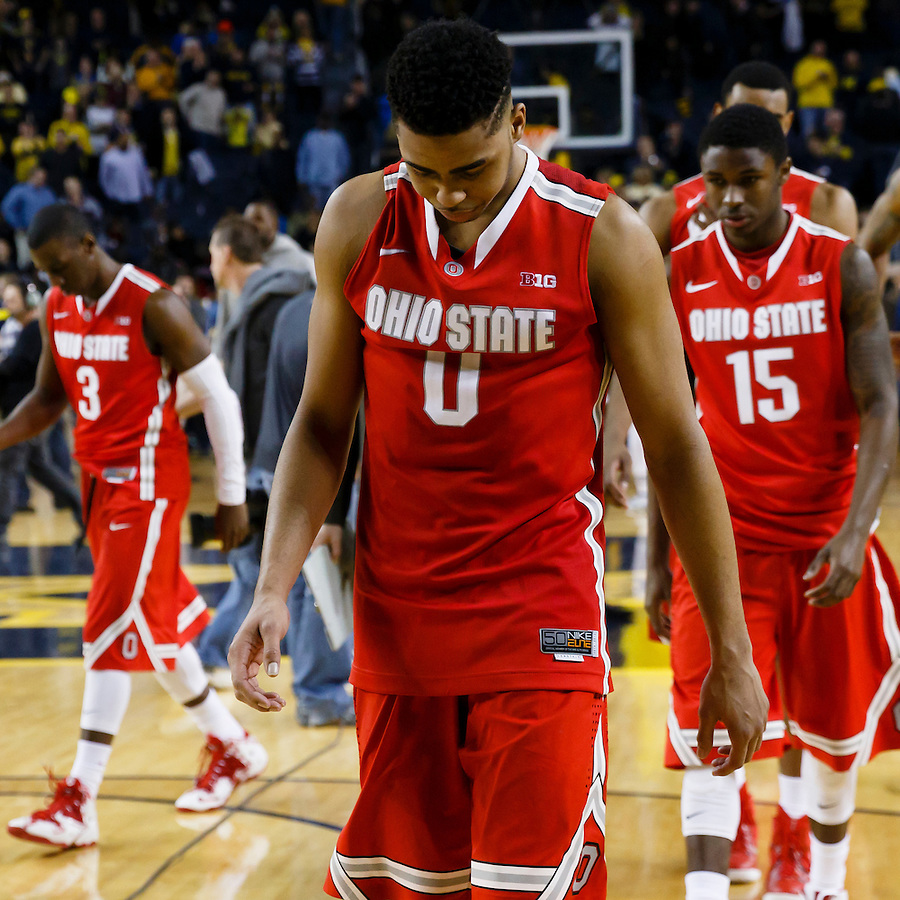Feb 22, 2015; Ann Arbor, MI, USA; Ohio State Buckeyes guard D'Angelo Russell (0) walks off the court after the game against the Michigan Wolverines at Crisler Center. Michigan won 64-57. Mandatory Credit: Rick Osentoski-USA TODAY Sports (Rick Osentoski/Rick Osentoski-USA TODAY Sports)