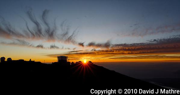 Sunset over Haleakala Satellite Tracking Station from Pu'U'Ula'Ula peak in Haleakala National Park, Maui Hawaii. Image taken with a Nikon D3x and 24 mm f/3.5 PC-E lens (ISO 100, f/16, 1/10 sec). Single shot HDR with Dx0 Pro (David J Mathre)