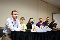 "NGLCCNY presented ""Gay Wedding Trends & Considerations"" panel discussion at the19th Annual GLBT Expo on March 17-18, 2012 at the Jacob Javits Center in New York. The panel was moderated by Bernadette Coveney Smith, President of 14 Stories. On the panel were Brian Silva of Marriage Equality New York, Jessy Wolvek of Fleurs NYC, Brian Pasalich of New York Life, Michael Watts and Kurt Kretzschmar of Cocktail Caterers. (Jeffrey Holmes/JeffreyHolmes.com)"