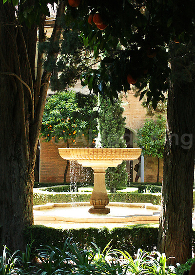 Fountain &amp; oranges inside the Alhambra
