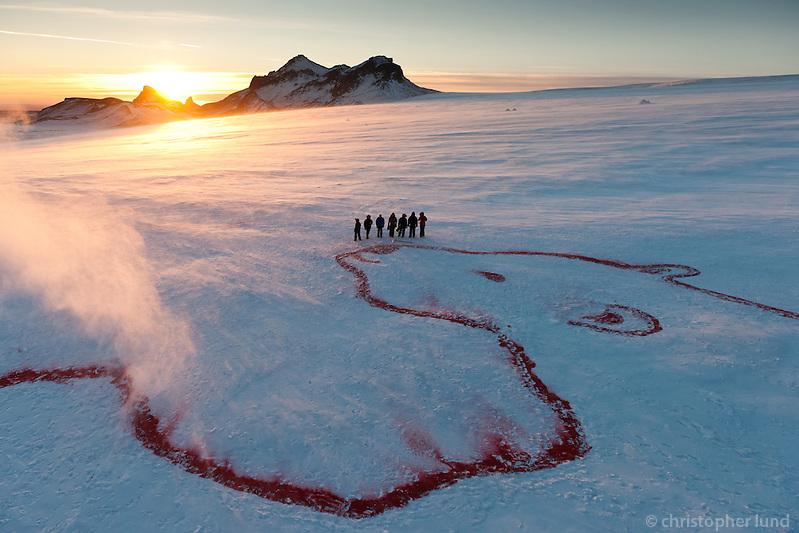 The Red Polar Bear on Langjökull glacier by artist Bjargey Ólafsdóttir. Part of the Earth 350.org project. ©2010 Christopher Lund.