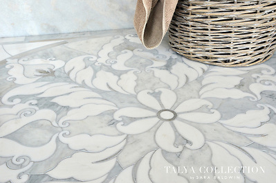 Rumi medallion, a stone waterjet mosaic shown in Avenza polished, Skyline honed, Snow White polished, is part of the Talya Collection by Sara Baldwin for Marble Systems. (www.ChrisGlennon.com   609-290-7292)