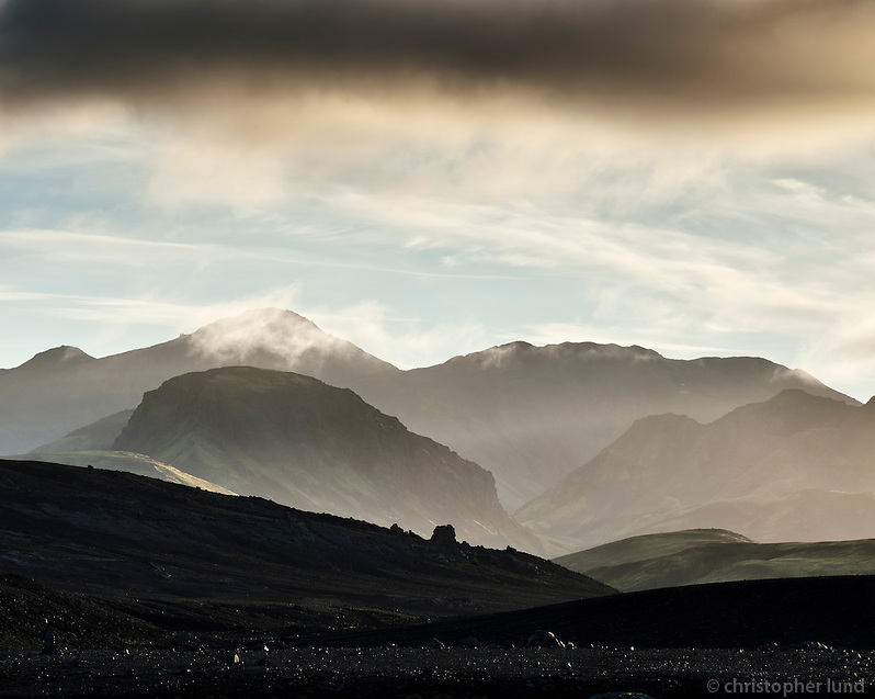 Daybreak at Laugavegur highland route Fjallabak, Interior of Iceland.