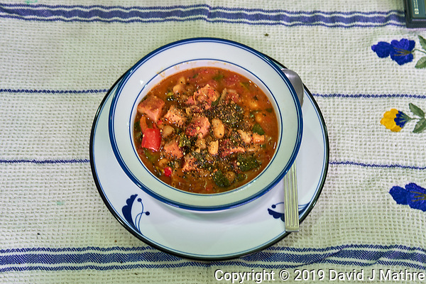 Tomato and Bean Soup with Swiss Chard, Kale, Arugula. Image taken with a Leica TL-2 camera and 35 mm f/1.4 lens (ISO 320, 35 mm, f/5,6, 1/25 sec). (DAVID J MATHRE)