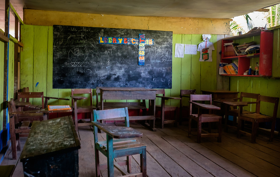 LORETO, PERU - CIRCA OCTOBER 2015: Classroom in the Village of Puerto Miguel, in the Yarapa river in the Peruvian Amazon. (Daniel Korzeniewski)