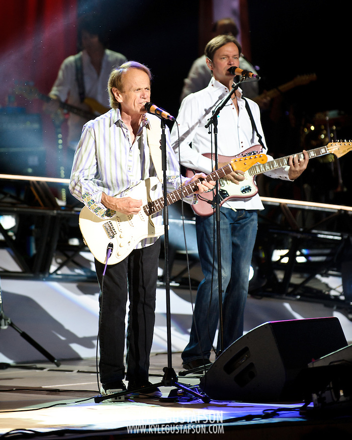 COLUMBIA, MD - June 15th, 2012 - Al Jardine (left) of The Beach Boys performs at Merriweather Post Pavilion as part of the band's 50th Anniversary Reunion Tour. This tour marks the first time chief songwriter Brian Wilson has done a full range of dates with the band since 1965. (Photo by Kyle Gustafson/For The Washington Post) (Kyle Gustafson/For The Washington Post)