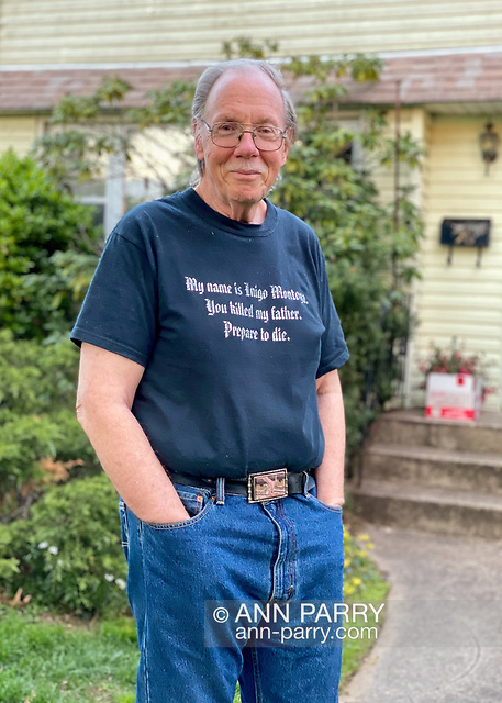 """""""Garden City Park, New York, U.S. May 2, 2020. Behind Bob Stuhmer, social distancing in his front yard, is box of food, on Long Island. (© 2020 Ann Parry/Ann-Parry.com)"""