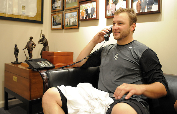 CHICAGO - JULY 23:  Mark Buehrle #56 of the Chicago White Sox talks to President Barack Obama after recording the 18th perfect game in major league history against the Tampa Bay Rays on June 23, 2009 at U.S. Cellular Field in Chicago, Illinois.  The White Sox defeated the Rays 5-0.  (Photo by Ron Vesely) (Ron Vesely)