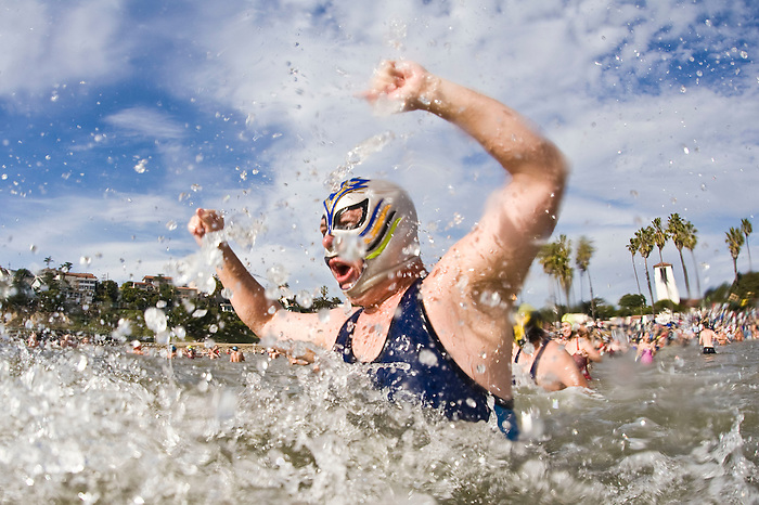 Swimmers dive into the chilly Pacific Ocean during the 58th annual Polar Bear Swim at Cabrillo Beach to welcome in the New Year, Jan. 1, 2010 in San Pedro, Calif. Photo by Patrick T. Fallon (Patrick T Fallon)