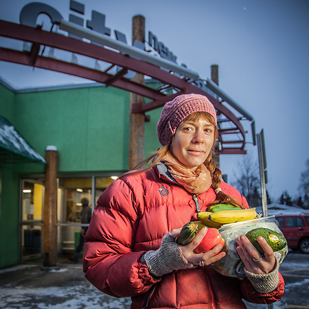 Evolve Yoga Studio manager Erin D'Eimon in front of City Market, Anchorage  erindeimon@yahoo.com (Clark James Mishler)