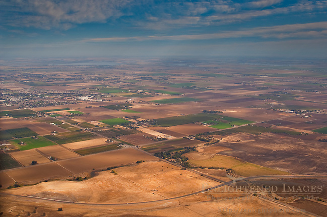 Aerial over the rural agricultural farmlands Central Valley near Tracy, California (Gary Crabbe)