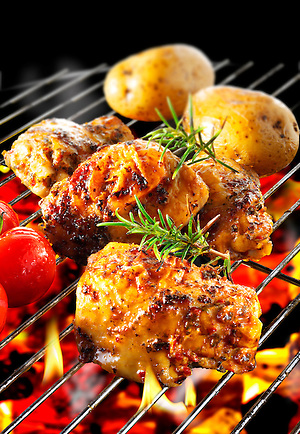 B-B-Q Chicken cooking (By food photographer Paul Williams. )