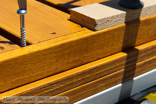 """I used 2"""" #12 wood screws to attach the IKEA shelf and upper riser to the lower riser. (Marc Perkins)"""