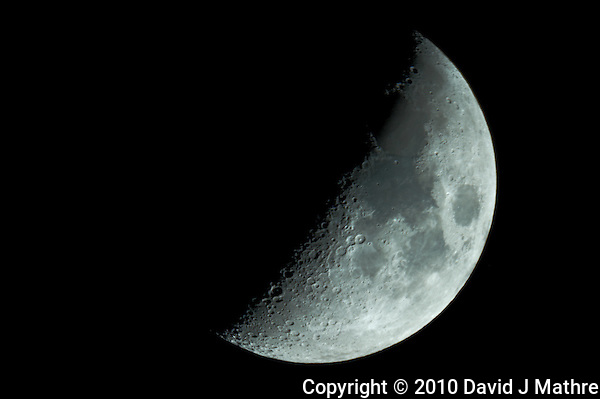 """First Quarter Moon. Image taken with Nikon D3s and Questar 7"""" telescope (ISO 200, ~1600 mm, f/16, 1/50 sec) (David J Mathre)"""