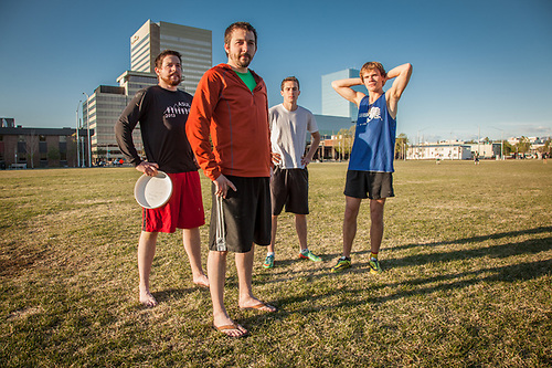 "Brothers John and Chris Dunaway, John Weber, and Jacob Kirk on the Delaney Park Strip, Anchorage.  ""We started Anchorage's first Ultimate Frisbee League.  We're headed to a tournament in Bozman this summer"".  johnmarc@axiomalaska.com (© Clark James Mishler)"