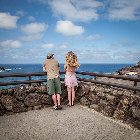 Couple at Look out at Makapuu Point, on the Island of Oahu (© Clark James Mishler)