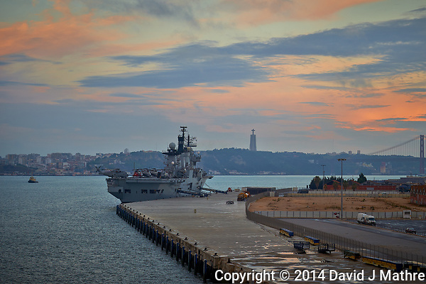 HMS Illustrious (Invincible-class Light Aircraft Carrier) Docked in Lisbon at Dawn. Semester at Sea, Summer 2014 Semester Voyage. Image taken with a Nikon Df camera and 70-200 mm f/4 VR lens (ISO 100, 70 mm, f/5.6, 1/100 sec). Raw image processed with Capture One Pro, Focus Magic, and Photoshop CC. (David J Mathre)