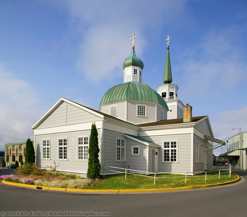 Russian Orthodox Saint Michael's church in downtown Sitka. Built in 1844-48, destroyed by fire in January 1966. Many of the icons and religious objects were salvaged and are in the rebuilt structure Sitka, Alaska (Patrick J Endres / AlaskaPhotoGraphics.com)