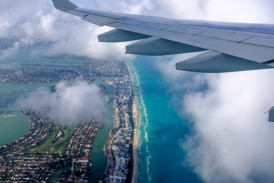 Aerial View of Miami Beach from an airplane window in Florida. (Daniel Korzeniewski)
