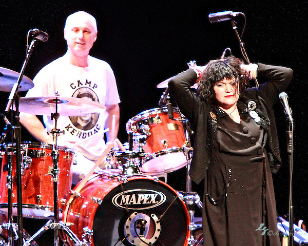 Exene Cervenka (right) and DJ Bonebrake of X perform on December 31, 2010  at the Moore Theatre in Seattle, WA (Elisa Sherman)