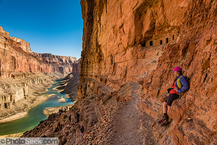 We hiked to the prehistoric Nankoweap Granaries (1 mile round trip with 700-foot gain) from Main Nankoweap Camp at Colorado River Mile 53.4 for this view of Marble Canyon. In 1960, archaeologist Douglas W. Schwartz found corncobs, a pumpkin shell, and pumpkin seeds inside the granaries, evidently harvested from Nankoweap Creek Delta by Ancestral Puebloans between AD 1050 and 1150. This image is from Day 3 of 16 days boating 226 miles down the Colorado River in Grand Canyon National Park, Arizona, USA. (© Tom Dempsey / PhotoSeek.com)